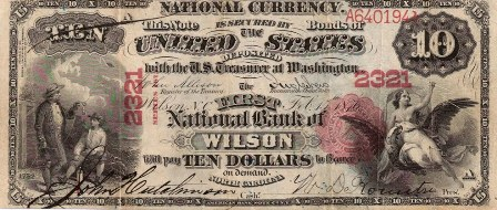 rare paper money $10 bank note