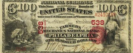 rare paper money $100 bank note