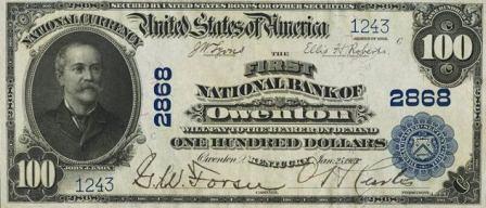 rare paper money $100 blue seal
