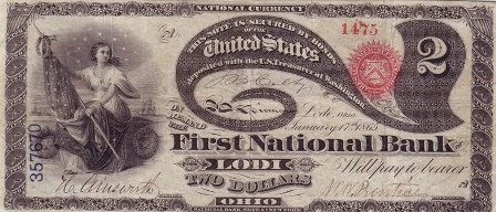 rare paper money $2 bank note