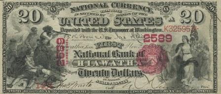 rare paper money $20 bank notes
