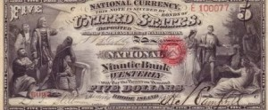rare paper money $5 bank note