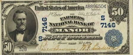 rare paper money $50 blue seal