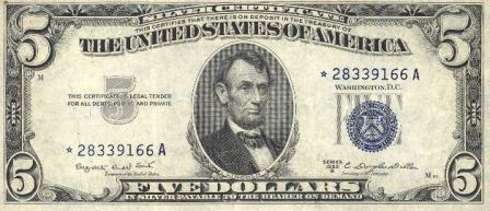 rare paper money five dollar star