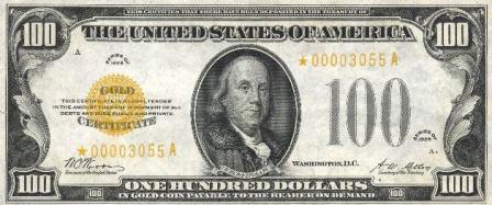 rare paper money gold certificate star