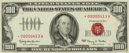 rare paper money one hundred dollar star