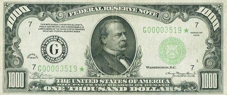 rare paper money one thousand dollar star