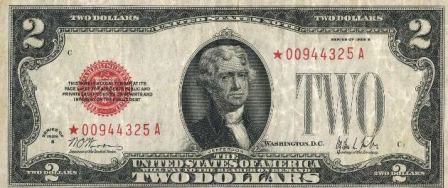 rare paper money two dollar red seal star